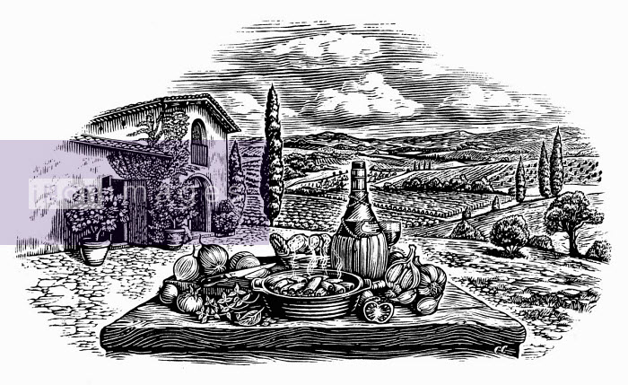 Black and white scraperboard engraving of wine and pasta in idyllic countryside