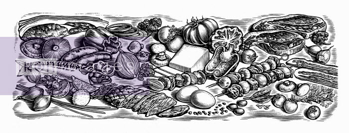 Black and white scraperboard engraving of fresh ingredients for cooking