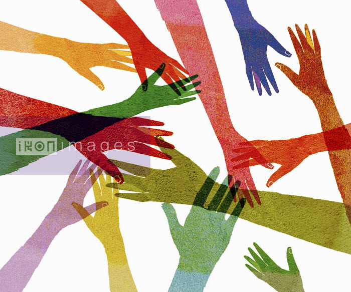 Overlapping multi coloured outstretched hands - Donna Grethen