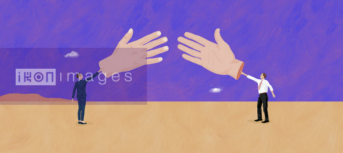 Businessman and businesswoman reaching to shake large hands - Gary Bates
