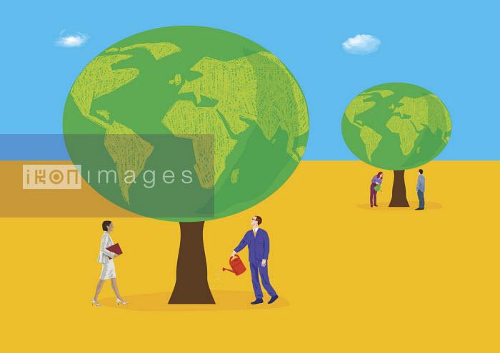 Gary Bates - Business people watering globe trees