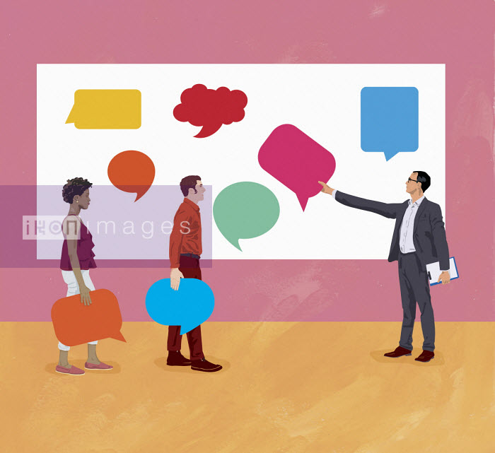Gary Bates - Business people exchanging opinions with different speech bubbles