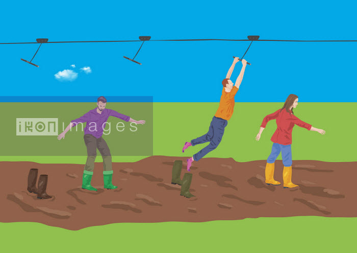 Man grabbing ski lift and leaving others stuck in mud - Gary Bates