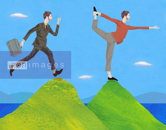 Gary Bates - Contrast between businessman running using phone and meditating in yoga pose