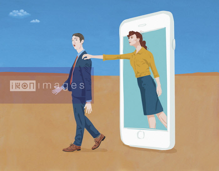 Gary Bates - Woman reaching out to man from smart phone screen