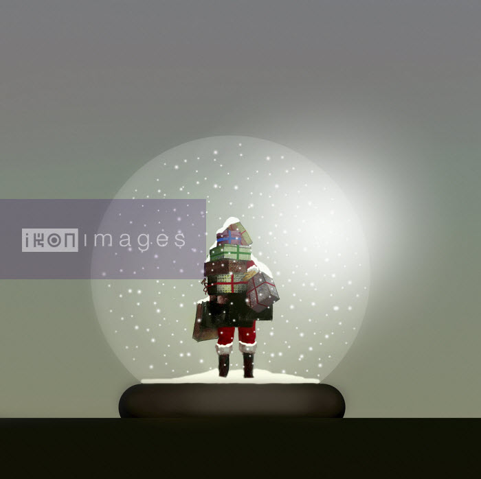 Gary Waters - Father Christmas with pile of presents inside of snow globe