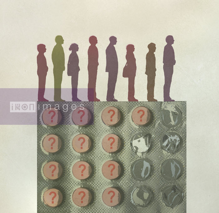Gary Waters - Row of people and question mark pills in blister pack