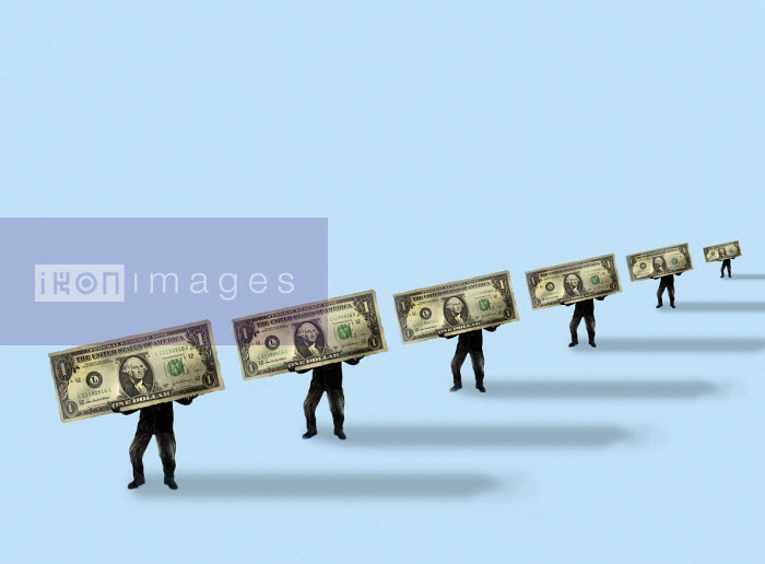 Gary Waters - Row of businessmen carrying large dollar bills