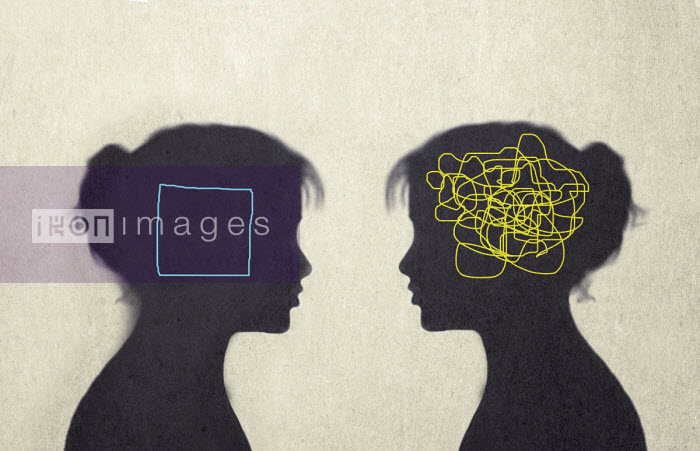 Contrast between woman with tangled line inside of head and woman with empty square inside head - Gary Waters