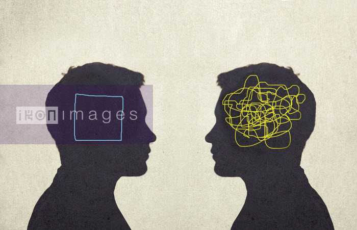 Contrast between man with tangled line inside of head and man with empty square inside head - Gary Waters