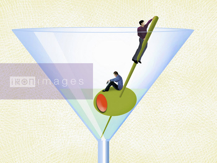 Contrast between man climbing out of alcoholic drink and man in despair