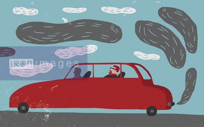 Black fumes coming from chauffeur driven car - Oivind Hovland