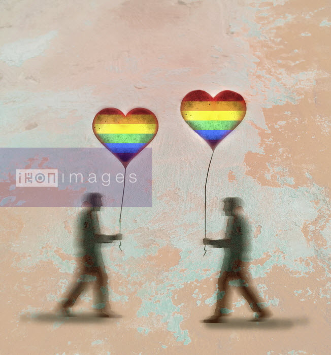 Gay men with heart shaped rainbow balloons walking towards each other - Gary Waters