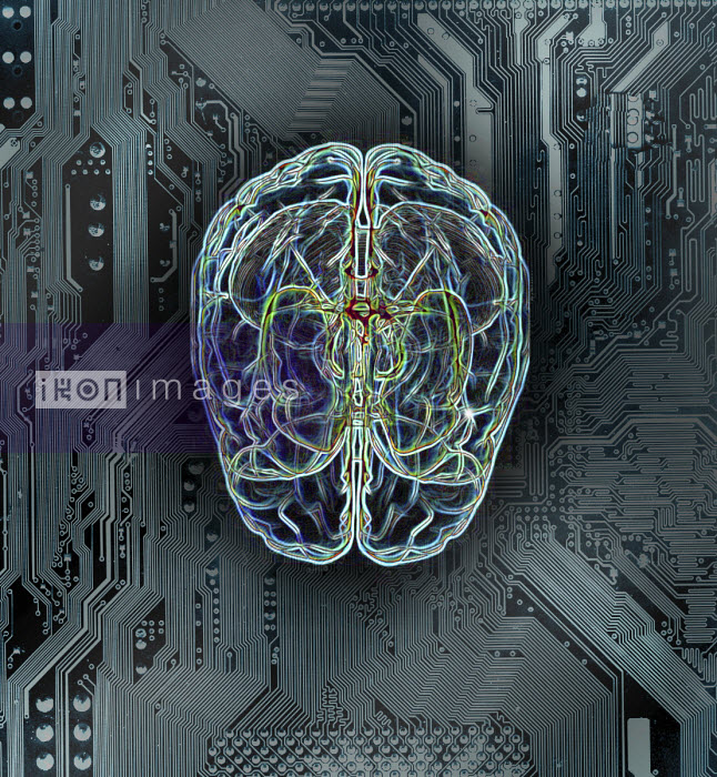 Wires forming human brain on circuit board - Gary Waters