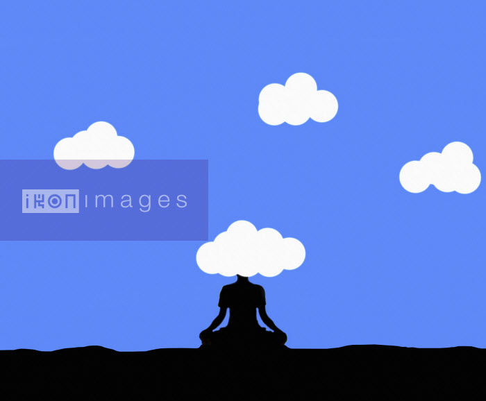 Gary Waters - Woman meditating with head in the clouds