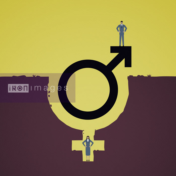 Mark Airs - Man standing on top of male gender symbol with woman in female symbol hole