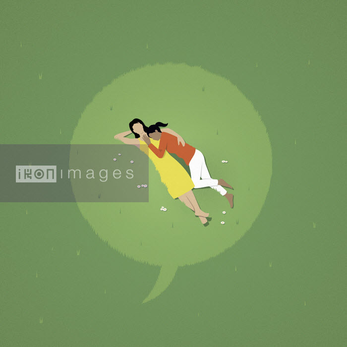 Mark Airs - Speech bubble over female couple lying down in grass