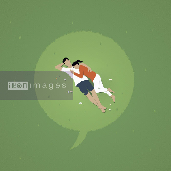 Mark Airs - Speech bubble over couple lying down in grass