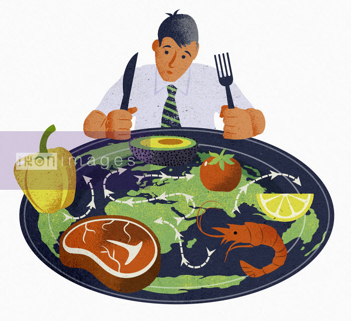 Jens Magnusson - Man with plate of food from all around the world