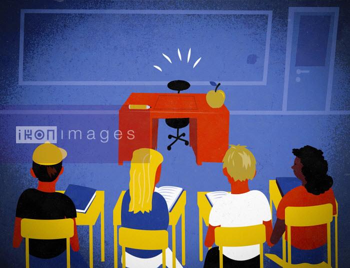 School children waiting in classroom for absent teacher - Jens Magnusson