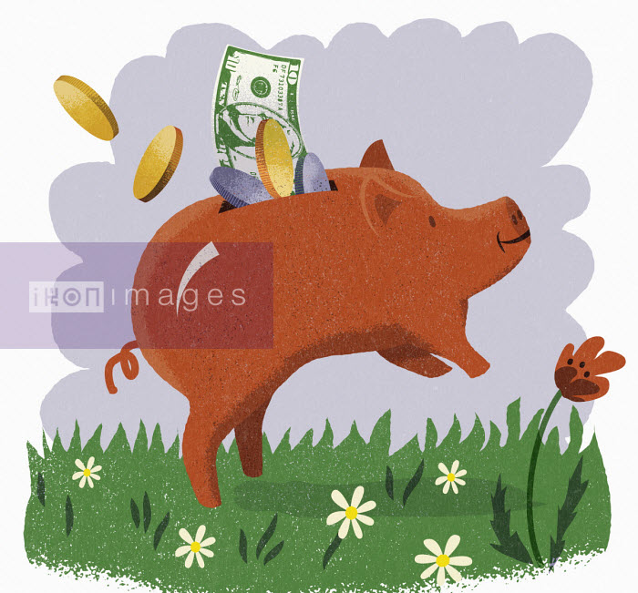 Happy piggy bank full of US dollars - Jens Magnusson