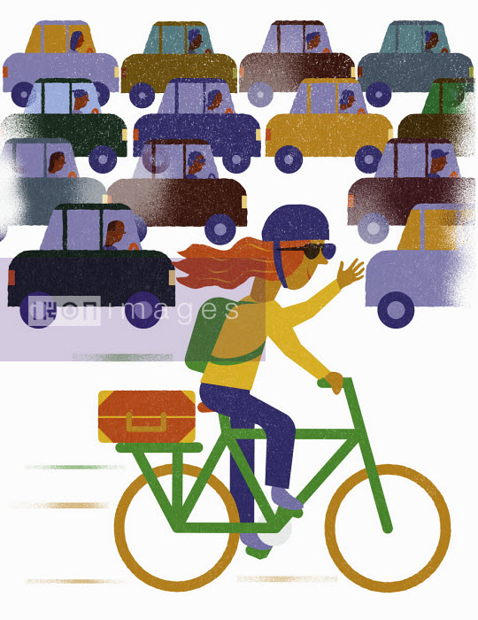 Happy cycling overtaking frustrated drivers in traffic jam - Jens Magnusson