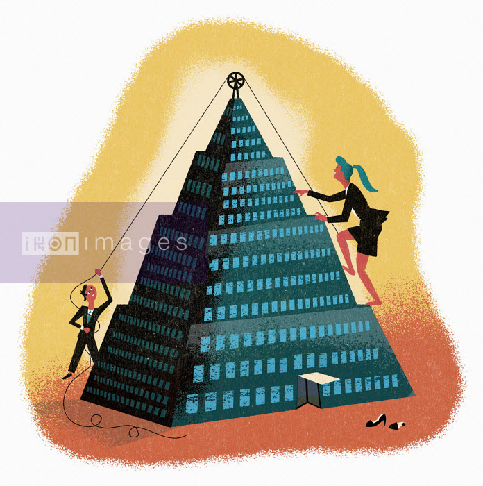 Businessman helping businesswoman climb to top of office pyramid - Jens Magnusson