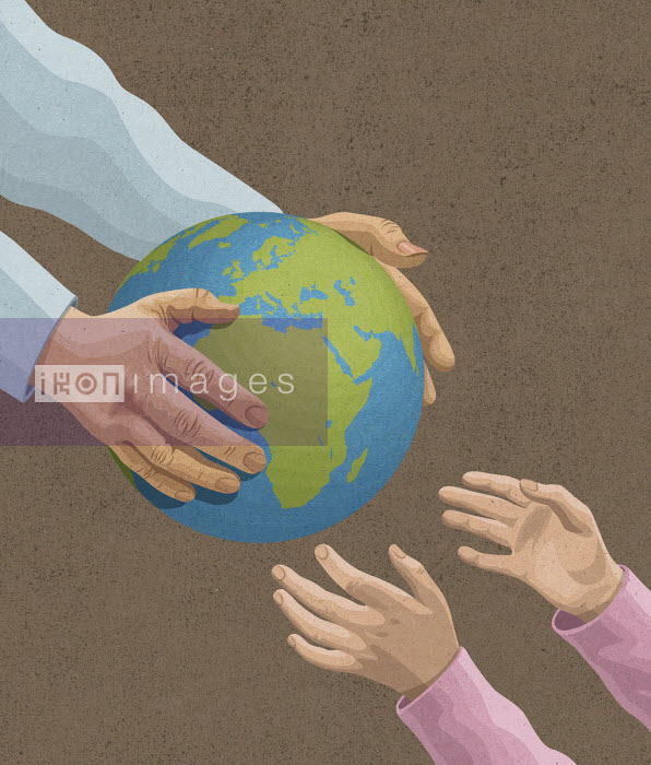Man's handing over the earth to young girl - John Holcroft