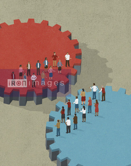 John Holcroft - People separated on cogs