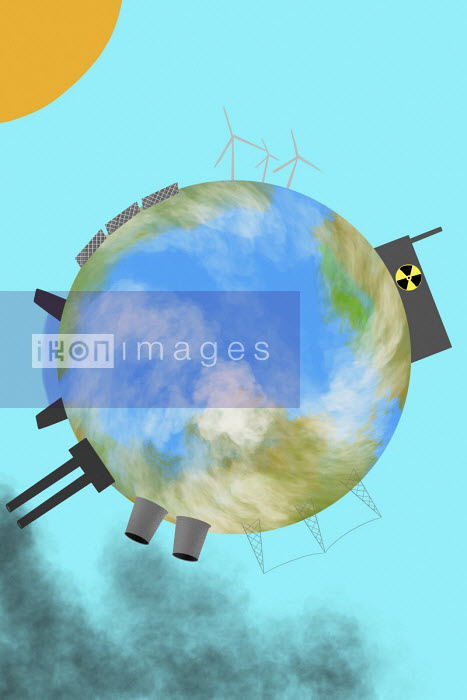 Globe with green and polluting ways of generating electricity - Benjamin Harte
