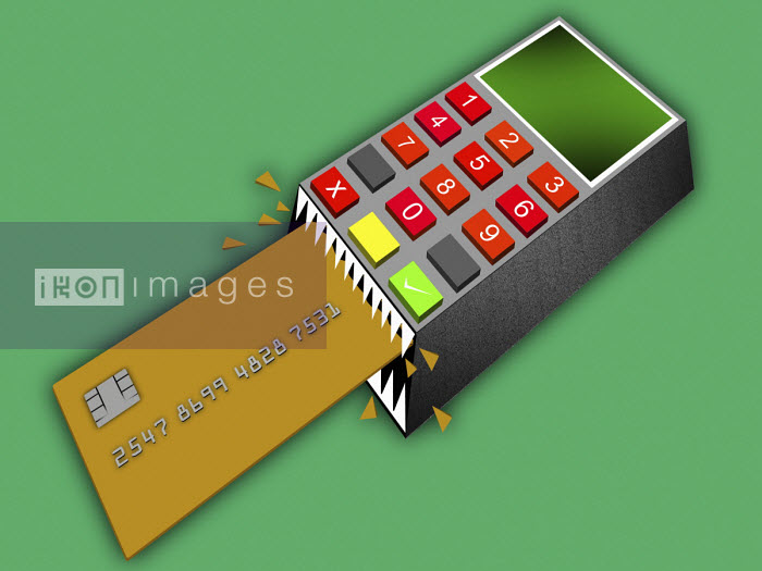 Credit card reader crunching credit card