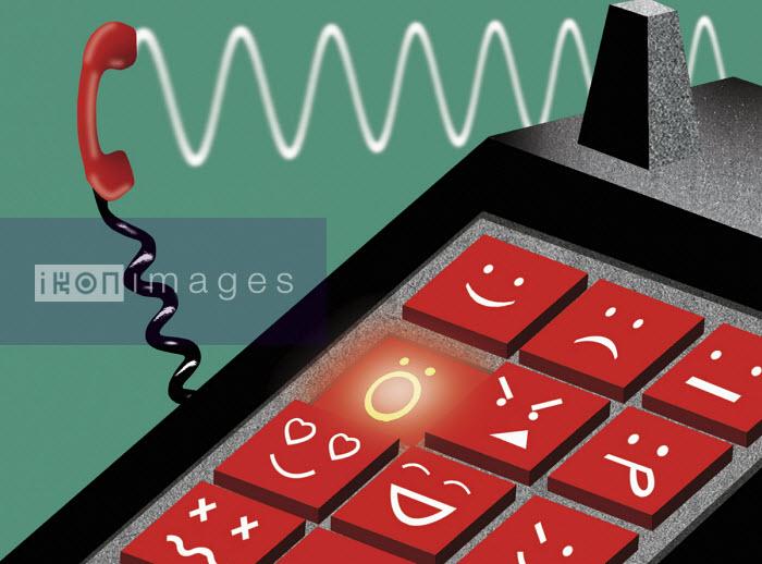 Emoji push buttons on telephone keypad