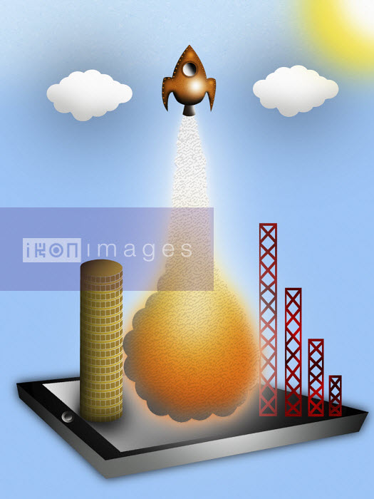 Space rocket taking off from digital tablet and money tower