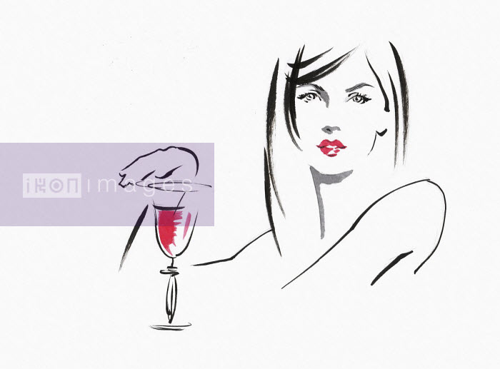 Sketch of beautiful woman with glass of wine - Katharine Asher