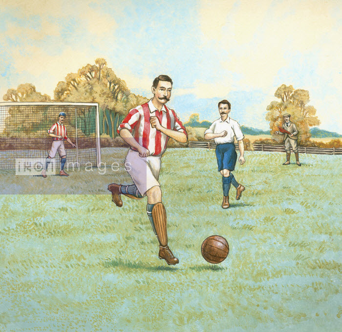 Vintage style illustration of football game