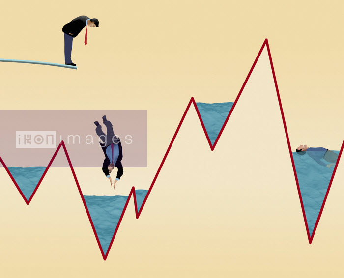 Businessmen diving and floating in dips in line graph