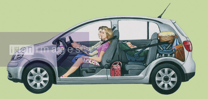 Cutaway of car showing storage space for family travelling with baby