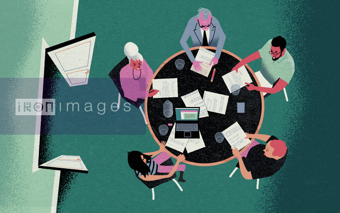 Overhead view of people in office meeting - Jens Magnusson