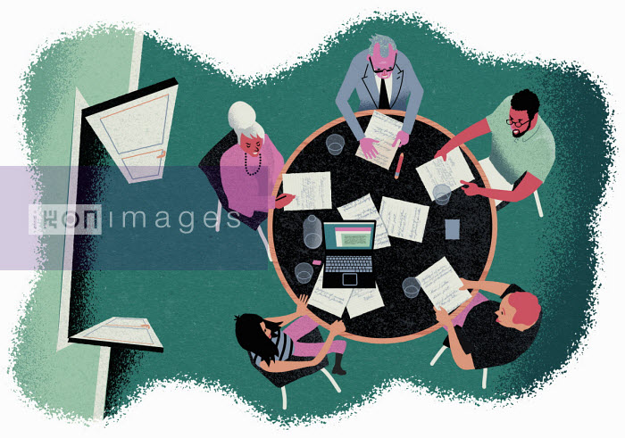 Jens Magnusson - Overhead view of people in office meeting