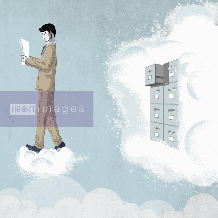 Man reading document from filing cabinet in cloud - Fergs