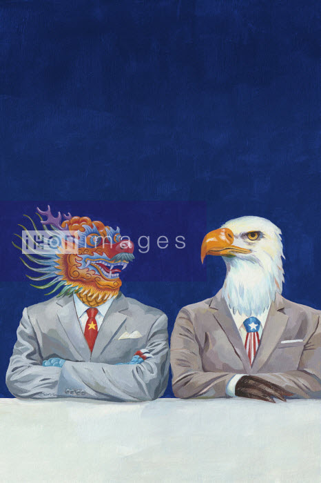 Chinese dragon and American Bald Eagle businessmen sitting side by side - Jon Berkeley