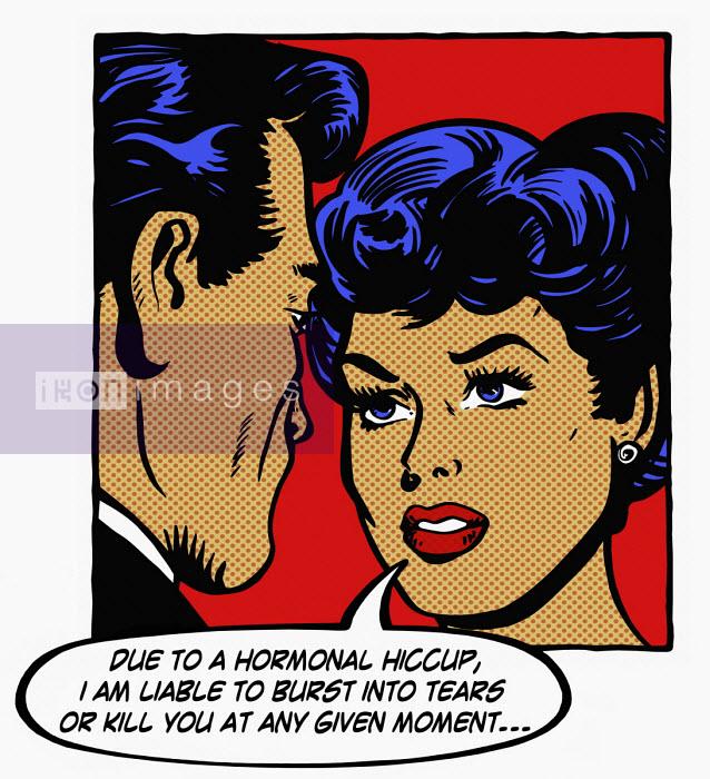 Woman explaining hormonal mood swings to boyfriend - Jacquie Boyd