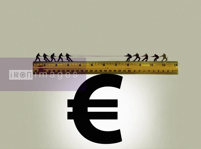 Gary Waters - Tug of war on top of ruler balanced on euro sign