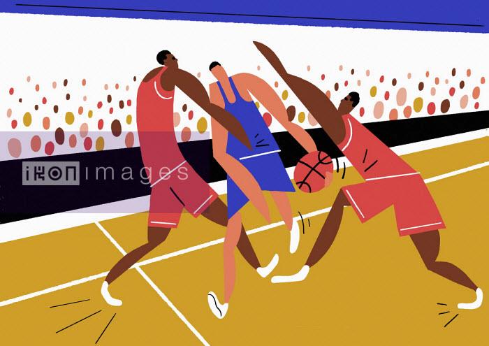Men playing in basketball match - Robert Hanson