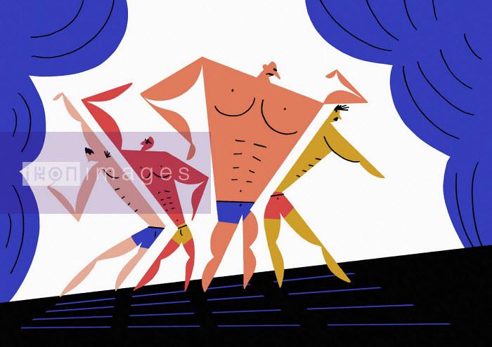 Bodybuilders posing on stage - Robert Hanson