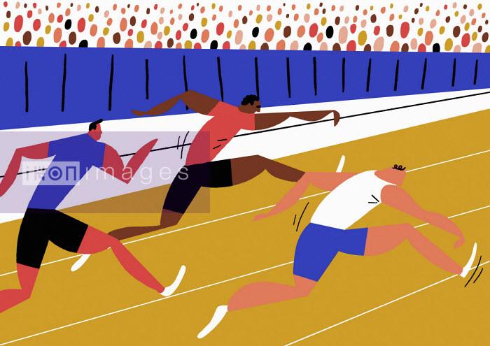 Male sprinters running on athletics track - Robert Hanson