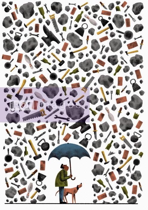 Man and dog sheltering under umbrella from lots of heavy items raining down - Robert Hanson