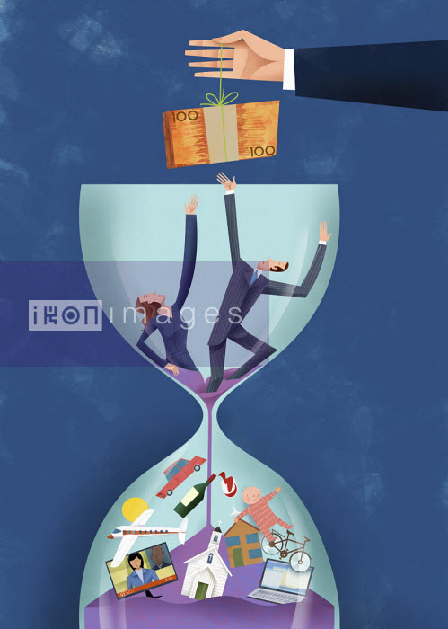 Couple struggling to reach money dangling above hourglass - Gregory Baldwin