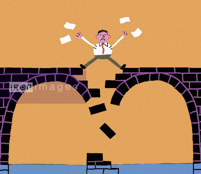 Businessman standing on crumbling bridge - Nick Shepherd