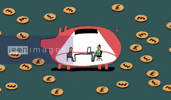 Man meeting financial adviser inside of piggy bank - Nick Shepherd